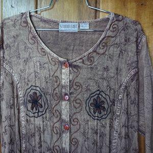 Studio East NY Dresses - Studio East NY Short Sleeve Gray Floral Print
